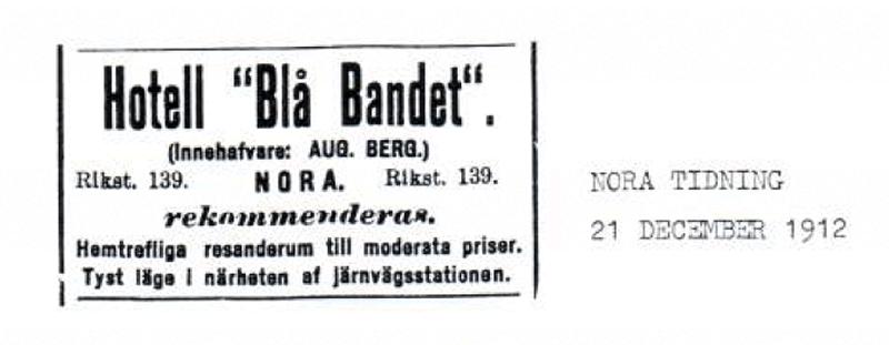 Annons i Nora tidning 21 dec 1912